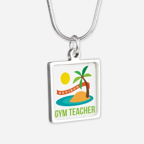 Retired Gym teacher Silver Square Necklace