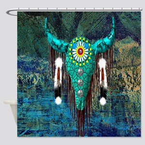 Turquoise Buffalo Shower Curtain
