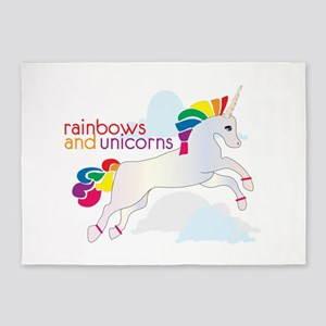 Rainbow And Unicorns 5'x7'Area Rug