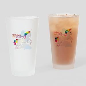 Rainbow And Unicorns Drinking Glass