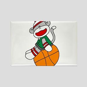 Sock Monkey Basketball Rectangle Magnet