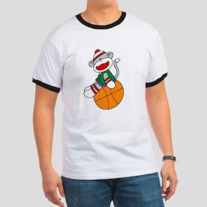 Sock Monkey Basketball Ringer T