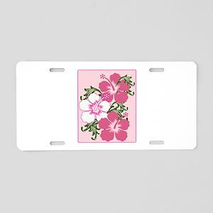 Hibiscus Base Aluminum License Plate