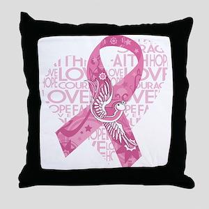 Breast Cancer Faith Love Bird Throw Pillow