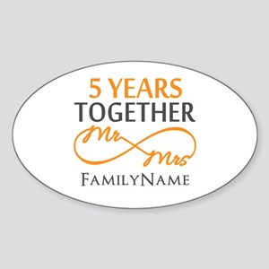 5th wedding anniversary Sticker (Oval)