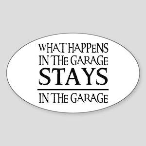STAYS IN THE GARAGE Oval Sticker