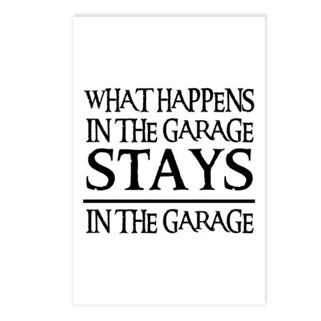 STAYS IN THE GARAGE Postcards (Package of 8)