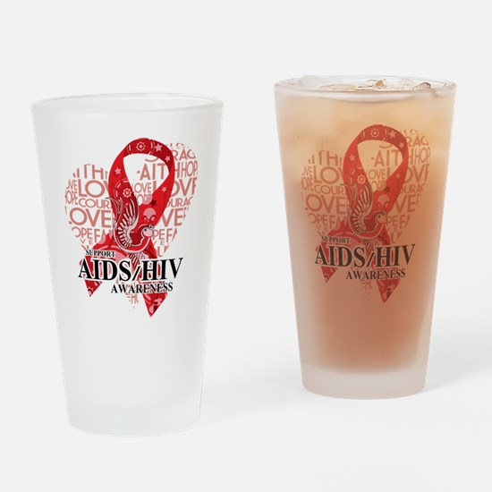 AIDS HIV Love Hope Bird Drinking Glass