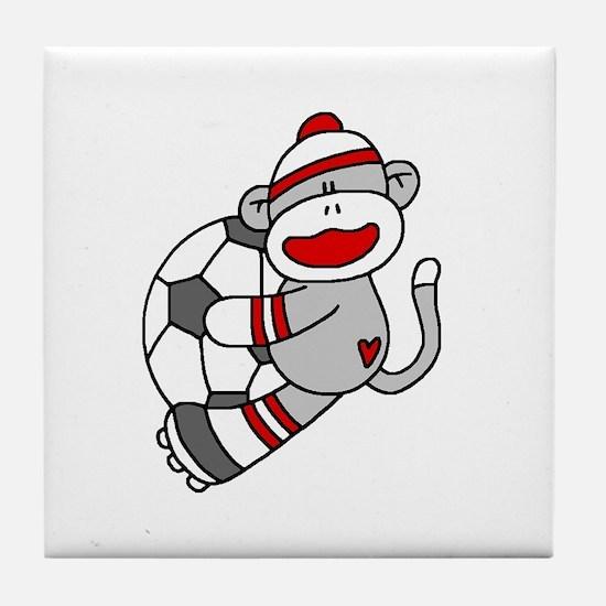 Sock Monkey Soccer Tile Coaster