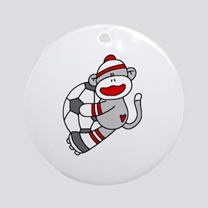Sock Monkey Soccer Ornament (Round)