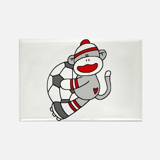 Sock Monkey Soccer Rectangle Magnet