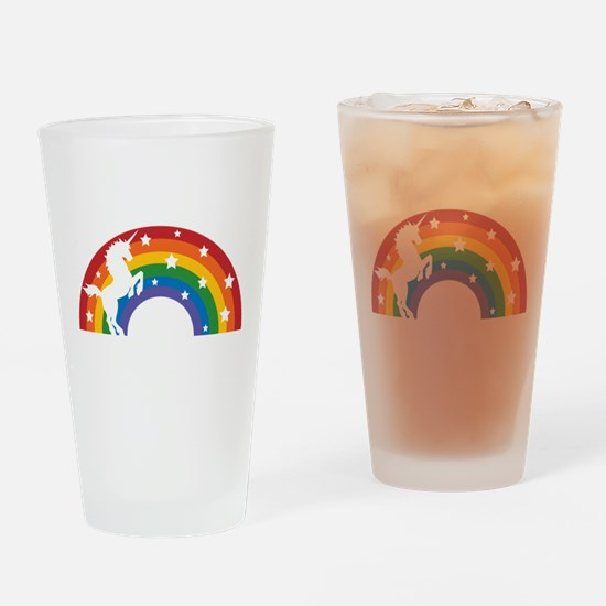 Retro Rainbow Unicorn Drinking Glass