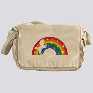 Retro Rainbow Unicorn Messenger Bag