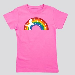 Retro Rainbow Unicorn Girl's Tee