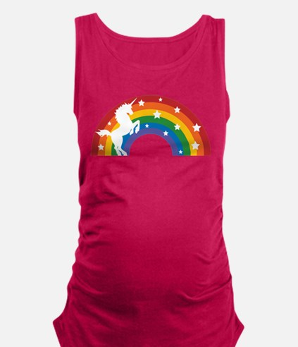 Retro Rainbow Unicorn Maternity Tank Top