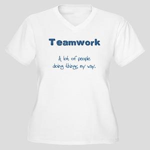 Teamwork - Blue Women's Plus Size V-Neck T-Shirt