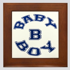 Multiple Baby Boy Baby B Announcement Framed Tile