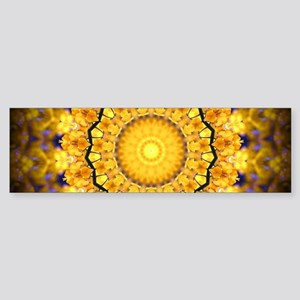 Golden Petal Mandala Kaleidoscope Bumper Sticker