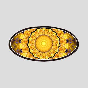 Golden Petal Mandala Kaleidoscope Patches