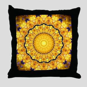 Golden Petal Mandala Kaleidoscope Throw Pillow