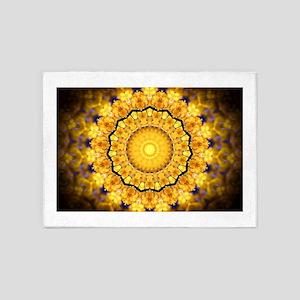 Golden Petal Mandala Kaleidoscope 5'x7'Area Rug