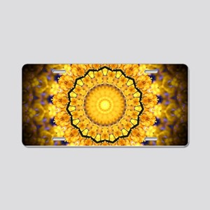 Golden Petal Mandala Kaleidoscope Aluminum License