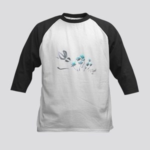 bunny with blue flowers Kids Baseball Jersey