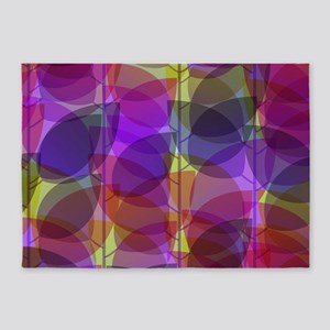Modern Purple Holographic Abstract Leaf 5'x7'Area