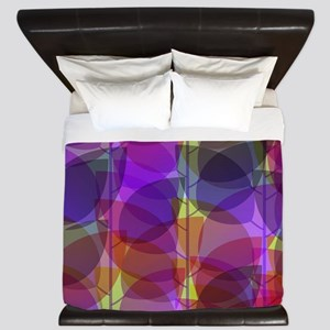 Modern Purple Holographic Abstract Leaf King Duvet