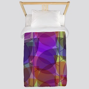 Modern Purple Holographic Abstract Leaf Twin Duvet