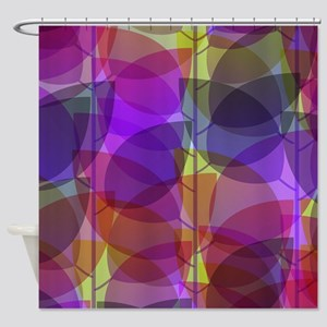 Modern Purple Holographic Abstract Leaf Shower Cur