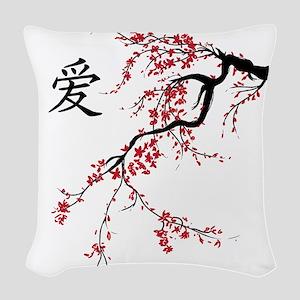 Cherry Blossom Woven Throw Pillow