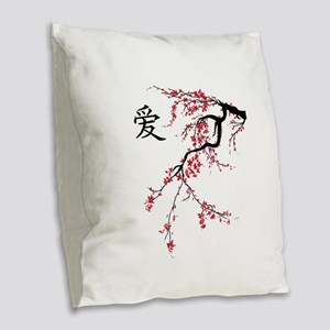Cherry Blossom Burlap Throw Pillow