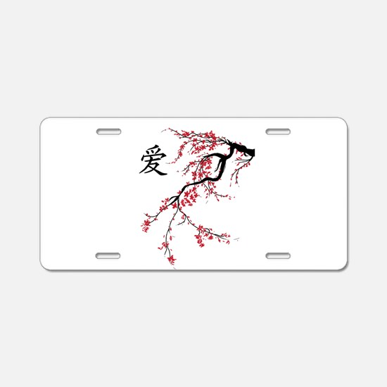 Cherry Blossom Aluminum License Plate
