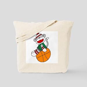 Sock Monkey Basketball Tote Bag