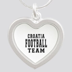 Croatia Football Team Silver Heart Necklace