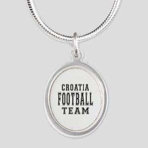 Croatia Football Team Silver Oval Necklace