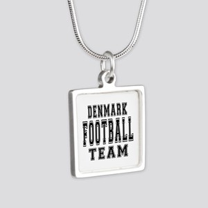 Denmark Football Team Silver Square Necklace