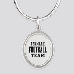 Denmark Football Team Silver Oval Necklace