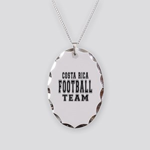 Costa Rica Football Team Necklace Oval Charm