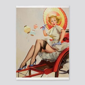 Pin Up Girl, Parasol, Vintage Poster 5'x7'area Rug