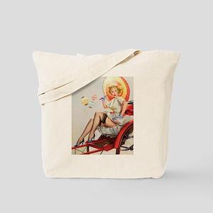 Pin Up Girl, Parasol, Vintage Poster Tote Bag