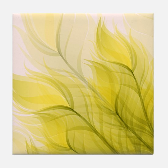 Beautiful Feather Golden Yellow Leaf Tile Coaster