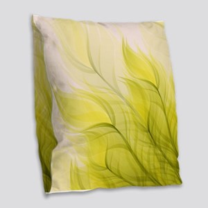 Beautiful Feather Golden Yellow Leaf Burlap Throw