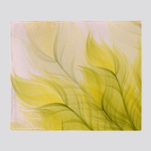 Beautiful Feather Golden Yellow Leaf Throw Blanket