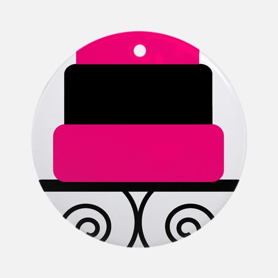 Hot Pink and Black Cake Ornament (Round)