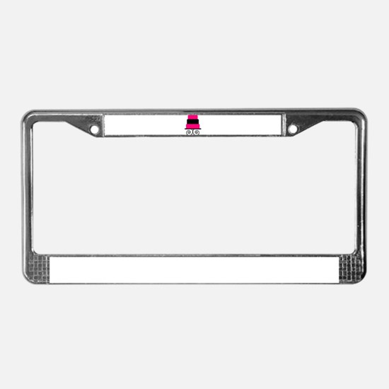 Hot Pink and Black Cake License Plate Frame