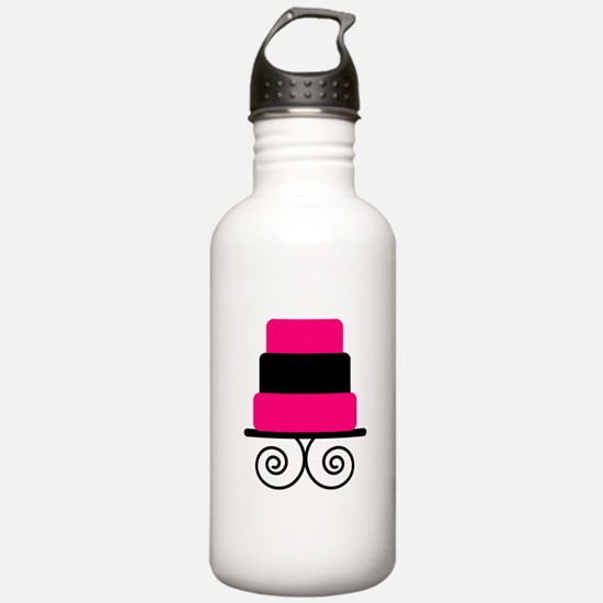 Hot Pink and Black Cake Water Bottle