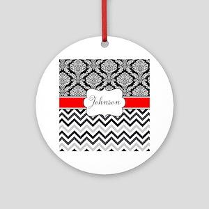 Black Red Damask Chevron Personalized Ornament (Ro