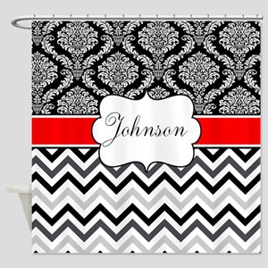 Black Red Damask Chevron Personalized Shower Curta